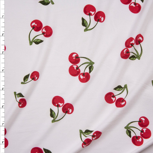 Cherries on Offwhite Double Brushed Poly/Spandex Fabric By The Yard