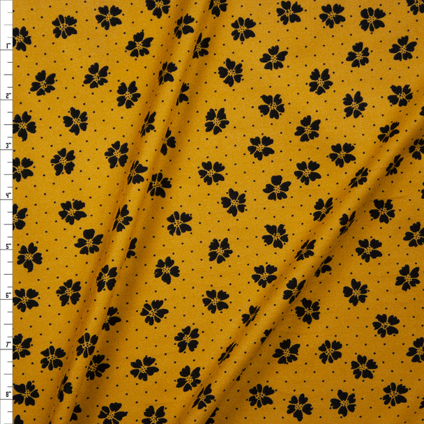 Black Dots and Flowers on Mustard Double Brushed Poly/Spandex Fabric By The Yard