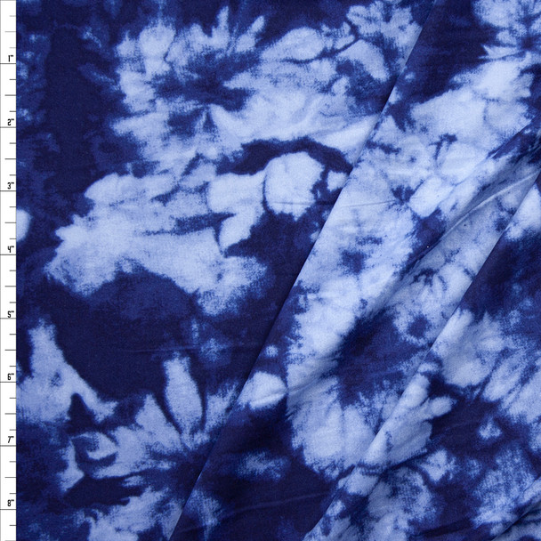 Navy and Light Blue Tie Dye Double Brushed Poly/Spandex Fabric By The Yard