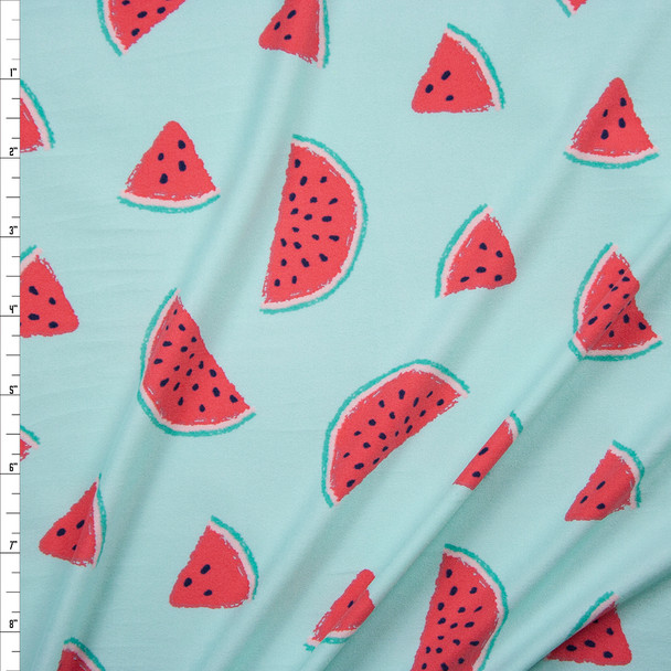 Watermelons on Mint Green Double Brushed Poly/Spandex Fabric By The Yard