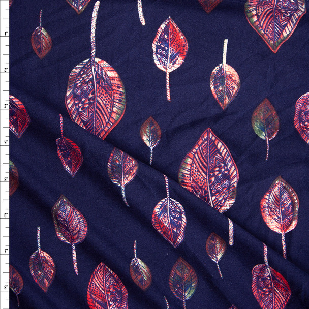Red, Olive, and Navy Leaves on Navy Blue Double Brushed Poly/Spandex Fabric By The Yard
