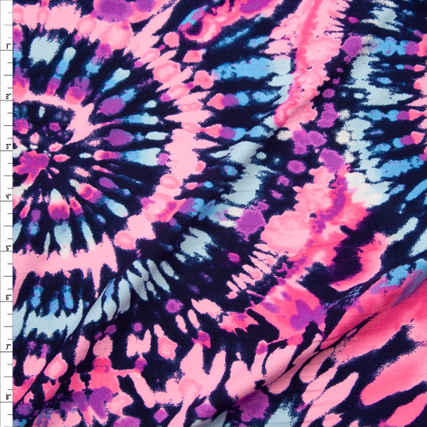 Pink, Aqua, Purple, and Navy Pinwheel Tie Dye Double Brushed Poly/Spandex Fabric By The Yard