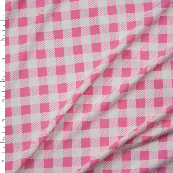 """White and Pink 1/2"""" Gingham Double Brushed Poly/Spandex Fabric By The Yard"""