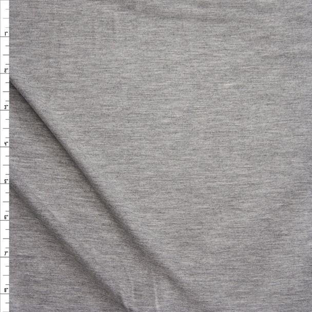 Heather Grey Midweight 4-way Stretch Rayon/Spandex Jersey Knit Fabric By The Yard