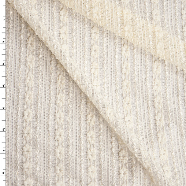 Ivory Vertical Floral Stripe Stretch Lace Fabric By The Yard