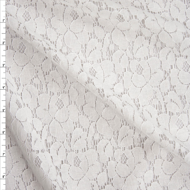 Warm White Spring Floral Lace Fabric By The Yard