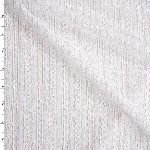 Optic White Floral Stripe Stretch Lace Fabric By The Yard