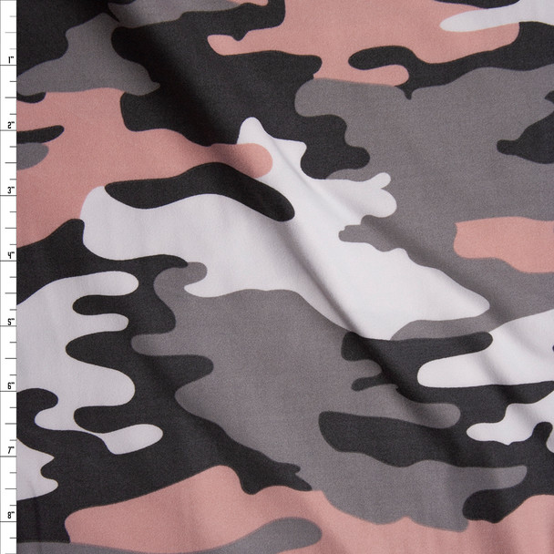 Blush, Grey, and White Camouflage Double Brushed Poly Spandex Fabric By The Yard