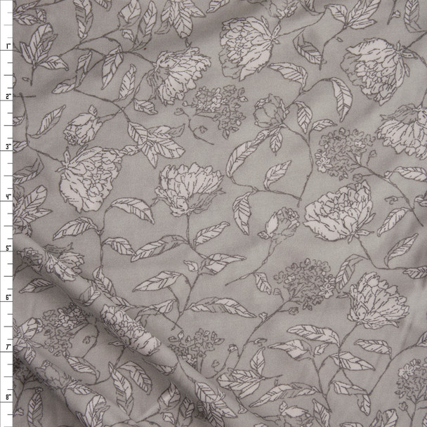 White Sketch Vines and Flowers on Grey Double Brushed Poly Spandex Fabric By The Yard