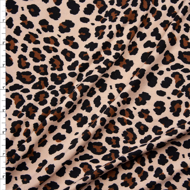 Brown, Black, and Cream Cheetah Print Double Brushed Poly Spandex Fabric By The Yard
