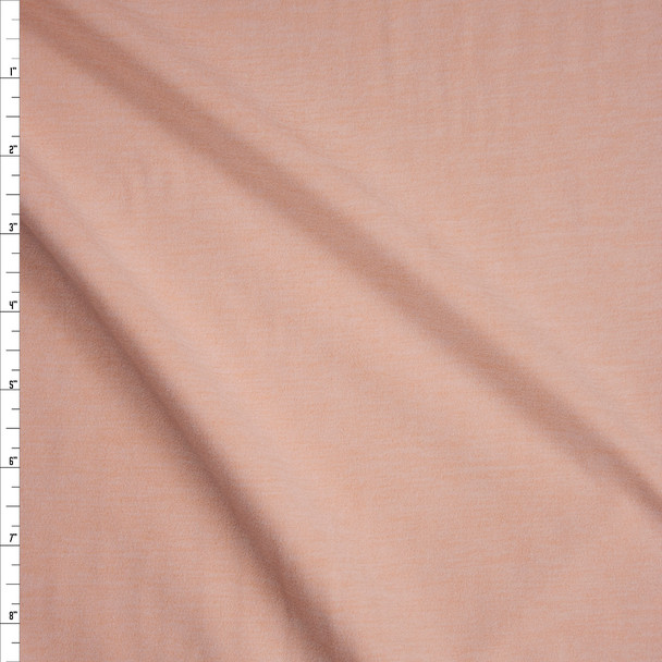 Soft Peach Heather Double Brushed Poly Spandex Fabric By The Yard