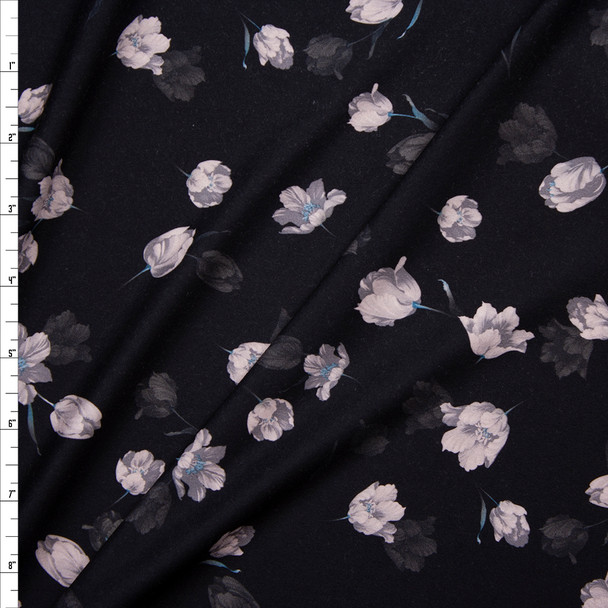 Light Grey Tossed Flowers on Black Double Brushed Poly Spandex Fabric By The Yard