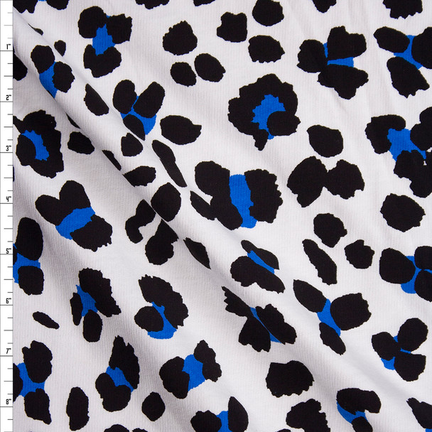 Black and Bright Blue Leopard Print on White Cotton French Terry Fabric By The Yard