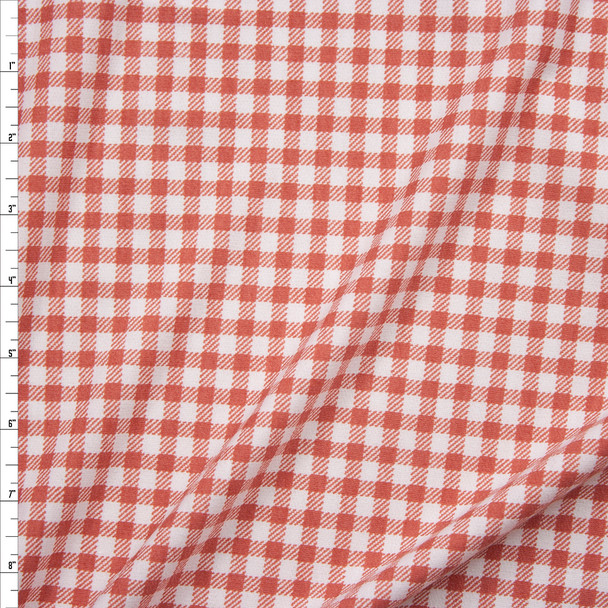 Dusty Pink Gingham Poly/Rayon French Terry Fabric By The Yard