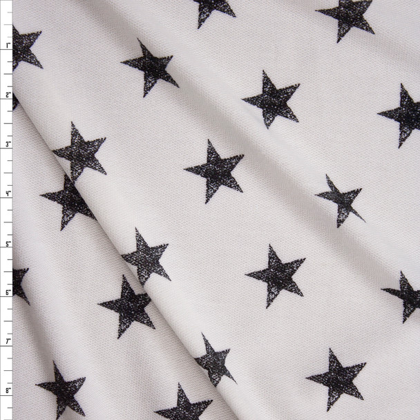 Black Grunge Stars on White Loop Printed Soft French Terry Fabric By The Yard