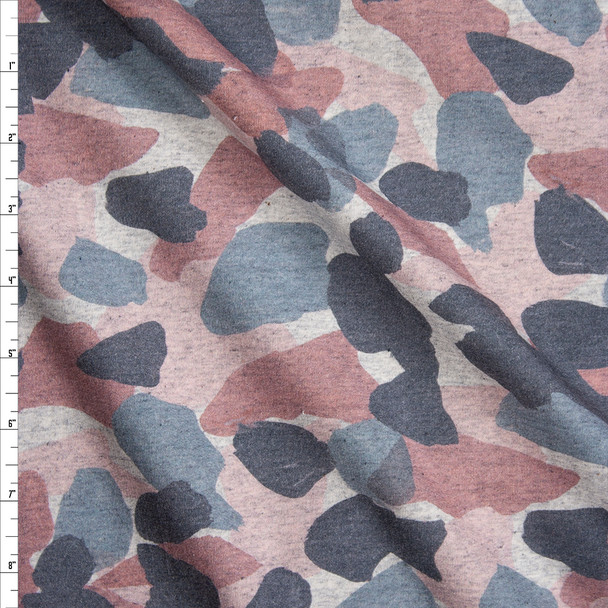Pink, Slate, and Charcoal Paint Daubs on Heather Grey Stretch French Terry Fabric By The Yard