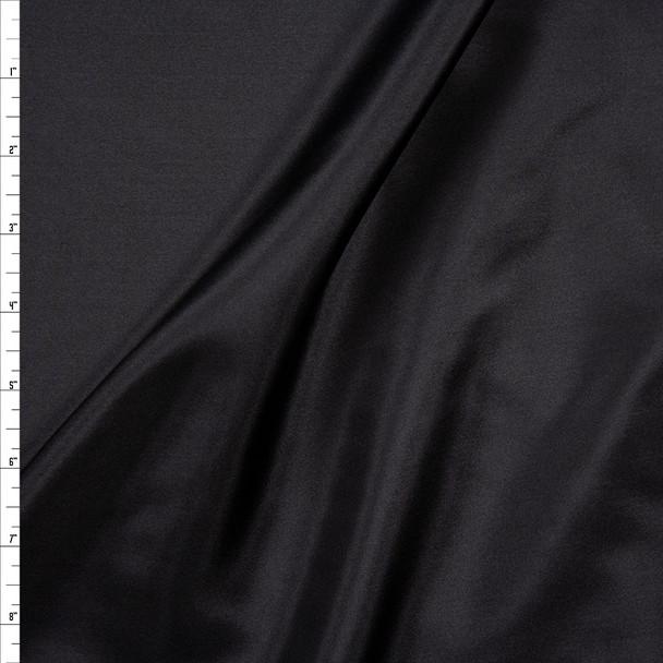 Black Designer Silk Designer Silk Habotai  Fabric By The Yard