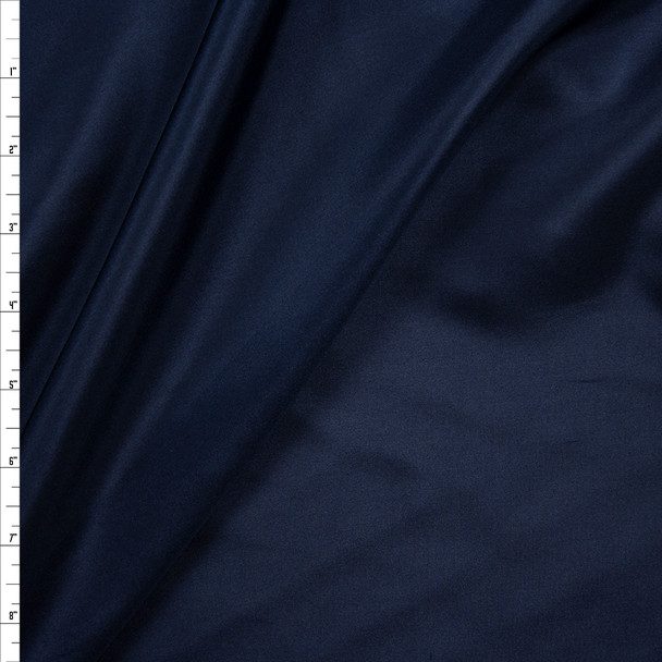 Navy Designer Silk Habotai Fabric By The Yard