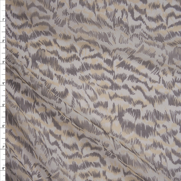 Taupe, Yellow, and Offwhite Abstract Animal Silk Chiffon Fabric By The Yard