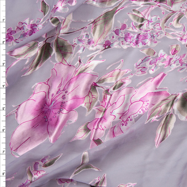 Designer Pink Floral on Light Grey Silk Burnout Fabric By The Yard