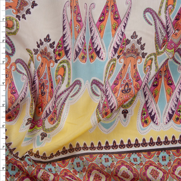 Orange and Yellow Paisley Panel Cotton/Silk Voile Fabric By The Yard