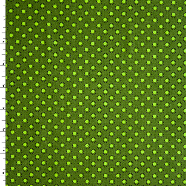 Woodland Friends Dot Dark Green Quilter's Cotton Print Fabric By The Yard
