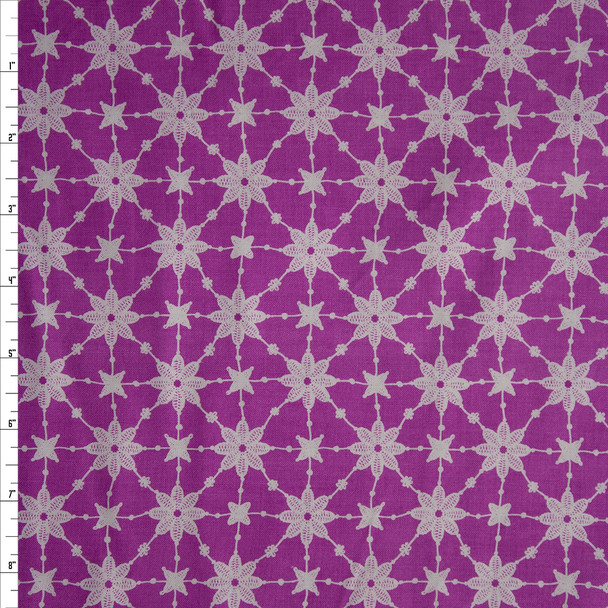 Flower Power Embroidery Lavender by Patrick Lose Quilter's Cotton Print Fabric By The Yard