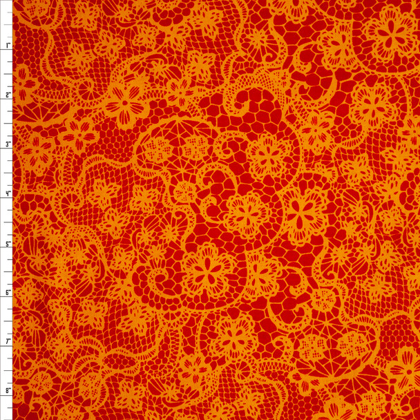 Lace Orange Pink by Patrick Lose Quilter's Cotton Print Fabric By The Yard