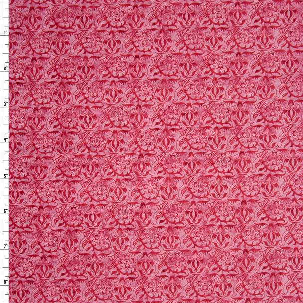 Natural Beauty Bird Dark Rose by Paintbrush Studios Quilter's Cotton Print Fabric By The Yard