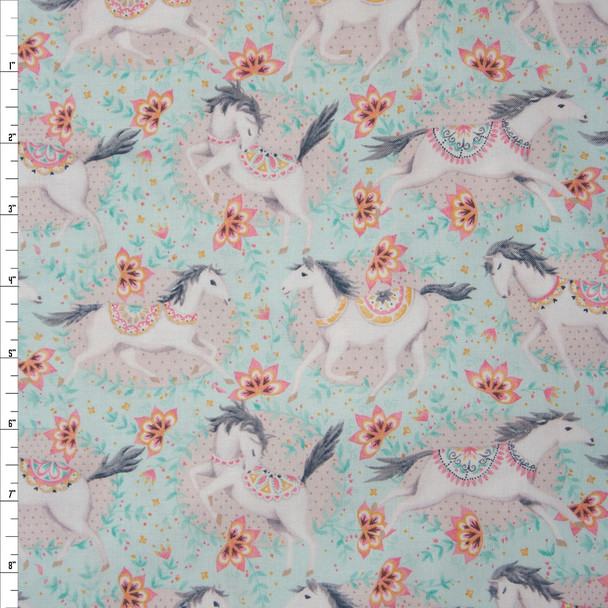 Hill and Dale Aqua by Blend Fabrics Quilter's Cotton Print Fabric By The Yard