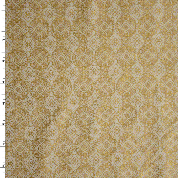Imperial Collection Metallic Ivory by Robert Kaufman Quilter's Cotton Print Fabric By The Yard