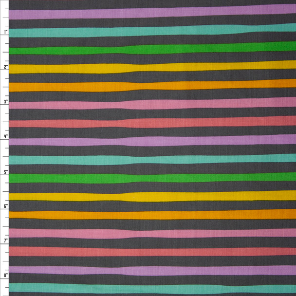 Magical Unicorns Rainbow Stripe Charcoal by Robert Kaufman Quilter's Cotton Print Fabric By The Yard