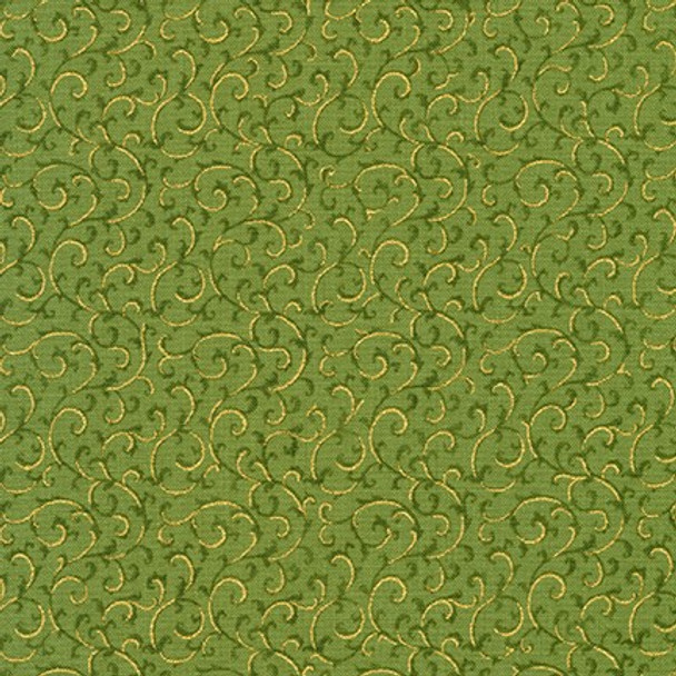 Gilded Blooms Green from Robert Kaufman Quilter's Cotton Print