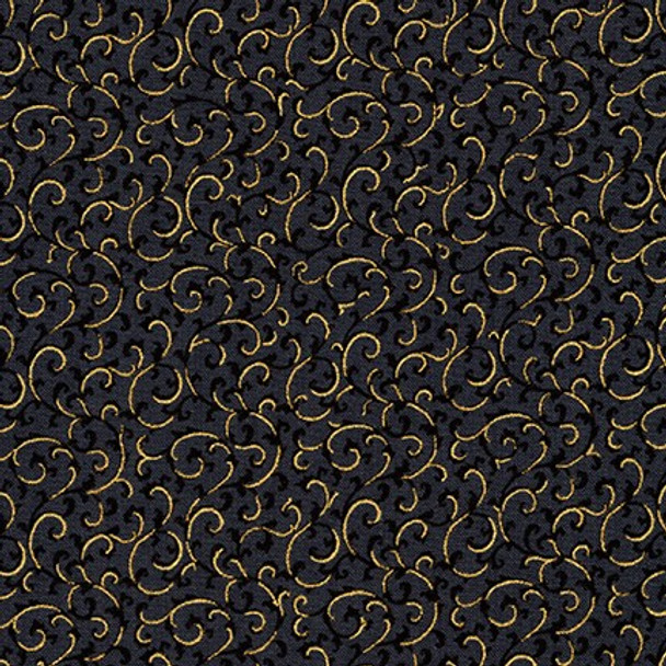 Gilded Blooms Black from Robert Kaufman Quilter's Cotton Print