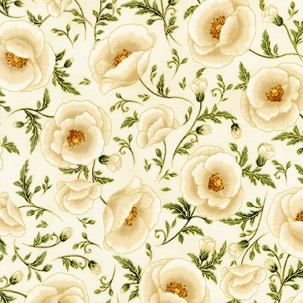 Gilded Blooms Ivory Floral Vines Damask from Robert Kaufman Quilter's Cotton Print