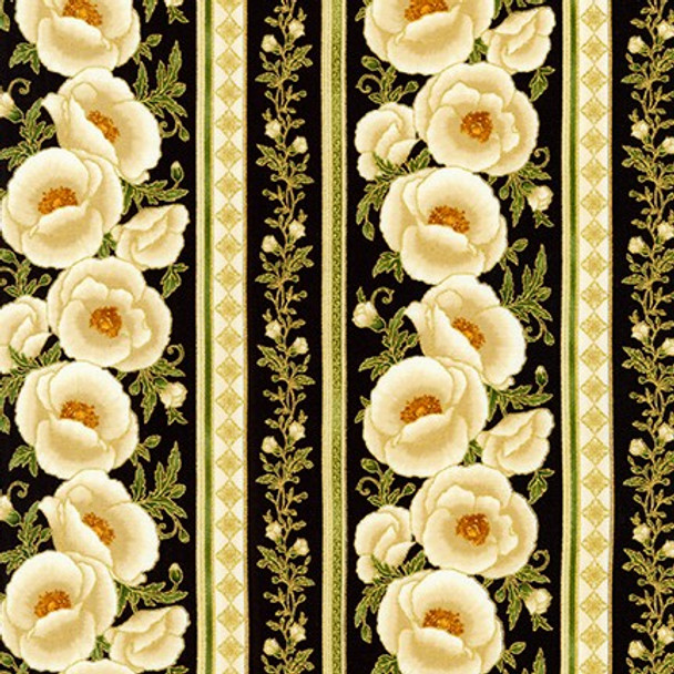 Gilded Blooms Ebony Floral Stripe from Robert Kaufman Quilter's Cotton Print