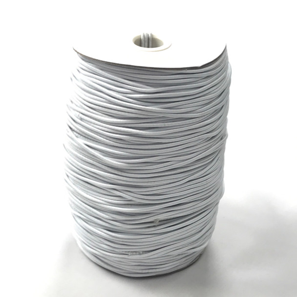 White 2mm Elastic Cord - By the Roll