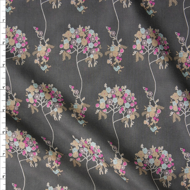 Pink, Pale Blue, and Tan Floral Bouquet on Charcoal Cotton Voile from Art Gallery Fabrics Fabric By The Yard