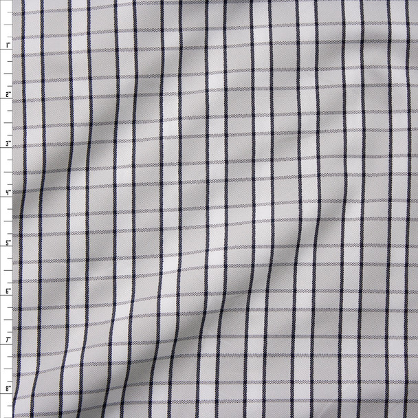 Grey, Black, and White Plaid Poplin from Brooks Brothers Fabric By The Yard