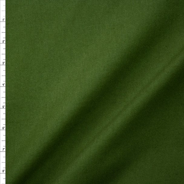 Olive Green Double Nap Midweight Cotton Flannel Fabric By The Yard