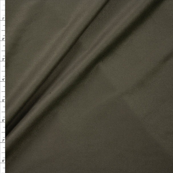 Dark Olive Green Lightweight Designer Stretch Suede Fabric By The Yard