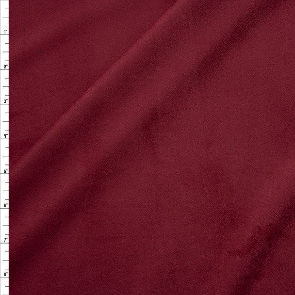 Wine Lightweight Designer Stretch Suede Fabric By The Yard