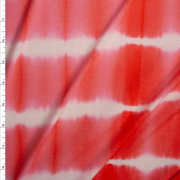 Coral and White Banded Tie Dye Stretch Rayon Jersey Fabric By The Yard