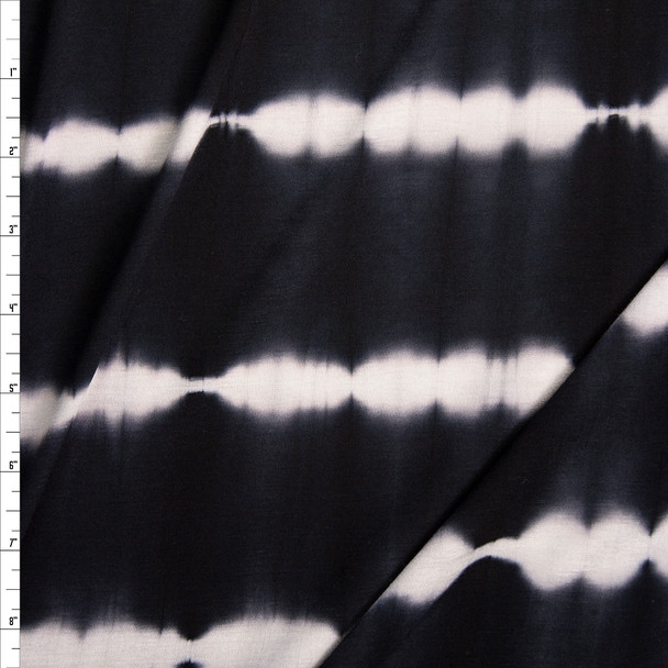 Black and White Banded Tie Dye Stretch Rayon Jersey Fabric By The Yard