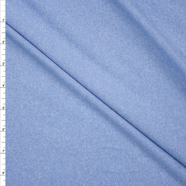 Pale Blue Heather Double Brushed Poly Fabric By The Yard