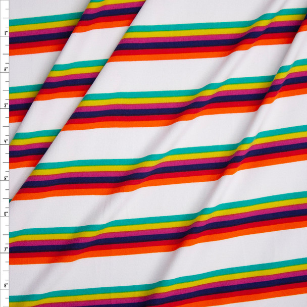 Orange, Red, Navy, Fuchsia, Lime, and Kelly Stripe on Offwhite Double Brushed Poly Fabric By The Yard