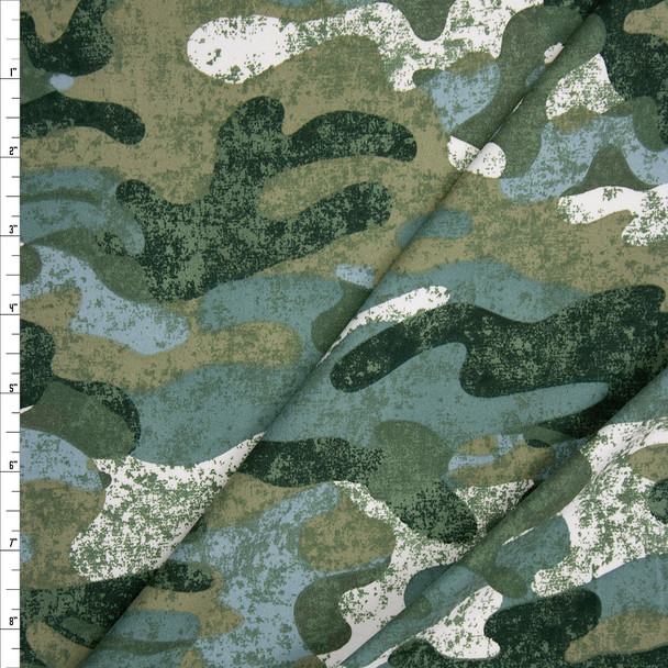 Grunge Camouflage Double Brushed Poly Fabric By The Yard