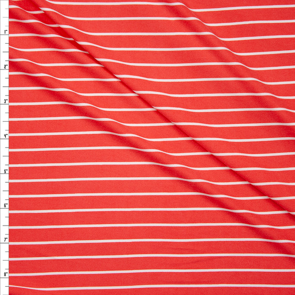 White on Bright Coral Vertical Stripe Double Brushed Poly Fabric By The Yard