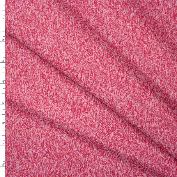 Bright Pink Heather Midweight Brushed Athletic Knit Fabric By The Yard