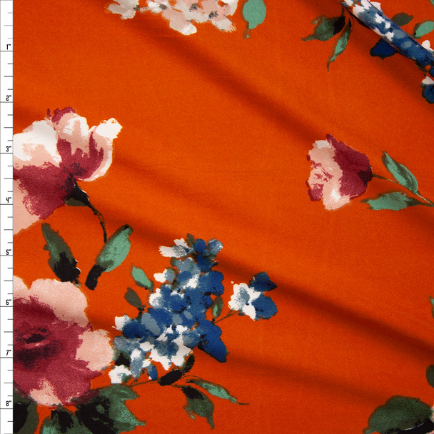 Pink and Teal Floral on Rust Double Brushed Poly Fabric By The Yard